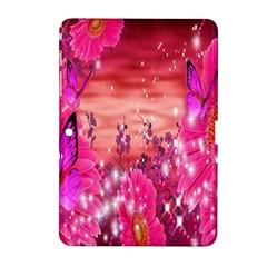 Flowers Neon Stars Glow Pink Sakura Gerberas Sparkle Shine Daisies Bright Gerbera Butterflies Sunris Samsung Galaxy Tab 2 (10 1 ) P5100 Hardshell Case  by Simbadda