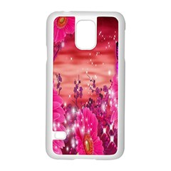 Flowers Neon Stars Glow Pink Sakura Gerberas Sparkle Shine Daisies Bright Gerbera Butterflies Sunris Samsung Galaxy S5 Case (white)