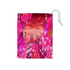 Flowers Neon Stars Glow Pink Sakura Gerberas Sparkle Shine Daisies Bright Gerbera Butterflies Sunris Drawstring Pouches (medium)