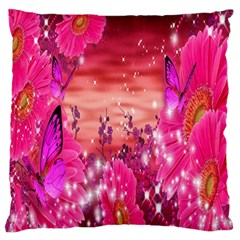 Flowers Neon Stars Glow Pink Sakura Gerberas Sparkle Shine Daisies Bright Gerbera Butterflies Sunris Large Flano Cushion Case (two Sides) by Simbadda