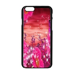 Flowers Neon Stars Glow Pink Sakura Gerberas Sparkle Shine Daisies Bright Gerbera Butterflies Sunris Apple Iphone 6/6s Black Enamel Case by Simbadda