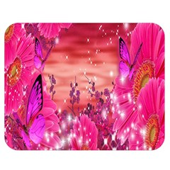 Flowers Neon Stars Glow Pink Sakura Gerberas Sparkle Shine Daisies Bright Gerbera Butterflies Sunris Double Sided Flano Blanket (medium)  by Simbadda