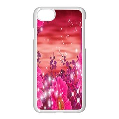 Flowers Neon Stars Glow Pink Sakura Gerberas Sparkle Shine Daisies Bright Gerbera Butterflies Sunris Apple Iphone 7 Seamless Case (white) by Simbadda
