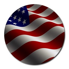 Flag United States Stars Stripes Symbol Round Mousepads by Simbadda