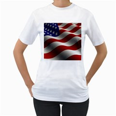 Flag United States Stars Stripes Symbol Women s T Shirt (white) (two Sided) by Simbadda