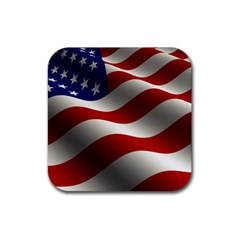 Flag United States Stars Stripes Symbol Rubber Square Coaster (4 Pack)  by Simbadda
