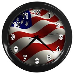 Flag United States Stars Stripes Symbol Wall Clocks (black) by Simbadda