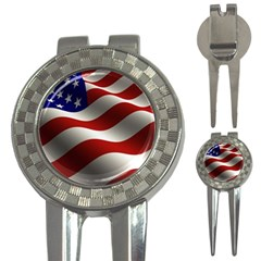 Flag United States Stars Stripes Symbol 3 In 1 Golf Divots by Simbadda
