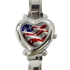 Flag United States Stars Stripes Symbol Heart Italian Charm Watch by Simbadda