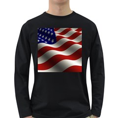 Flag United States Stars Stripes Symbol Long Sleeve Dark T Shirts by Simbadda