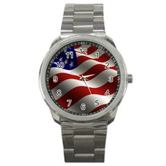 Flag United States Stars Stripes Symbol Sport Metal Watch by Simbadda