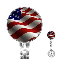 Flag United States Stars Stripes Symbol Stainless Steel Nurses Watch by Simbadda