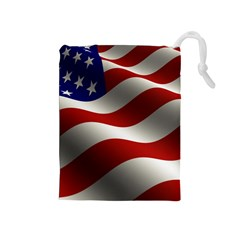 Flag United States Stars Stripes Symbol Drawstring Pouches (medium)  by Simbadda