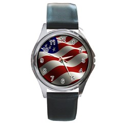 Flag United States Stars Stripes Symbol Round Metal Watch by Simbadda
