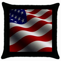 Flag United States Stars Stripes Symbol Throw Pillow Case (black) by Simbadda