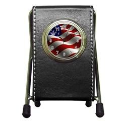 Flag United States Stars Stripes Symbol Pen Holder Desk Clocks by Simbadda