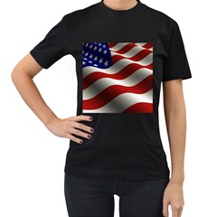 Flag United States Stars Stripes Symbol Women s T Shirt (black) by Simbadda
