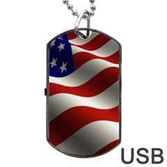 Flag United States Stars Stripes Symbol Dog Tag Usb Flash (one Side) by Simbadda