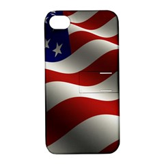 Flag United States Stars Stripes Symbol Apple Iphone 4/4s Hardshell Case With Stand