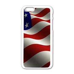 Flag United States Stars Stripes Symbol Apple Iphone 6/6s White Enamel Case by Simbadda
