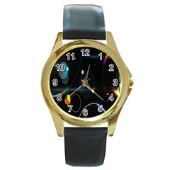 Glare Light Luster Circles Shapes Round Gold Metal Watch by Simbadda