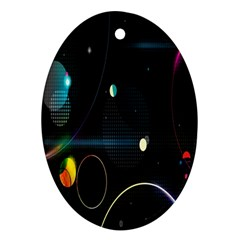 Glare Light Luster Circles Shapes Oval Ornament (two Sides) by Simbadda