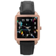 Glare Light Luster Circles Shapes Rose Gold Leather Watch  by Simbadda
