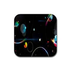 Glare Light Luster Circles Shapes Rubber Square Coaster (4 Pack)  by Simbadda
