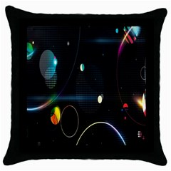 Glare Light Luster Circles Shapes Throw Pillow Case (black) by Simbadda