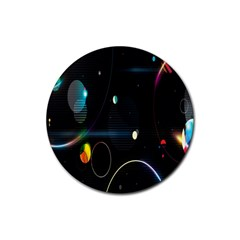 Glare Light Luster Circles Shapes Rubber Coaster (round)  by Simbadda
