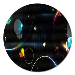 Glare Light Luster Circles Shapes Magnet 5  (round) by Simbadda
