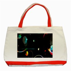 Glare Light Luster Circles Shapes Classic Tote Bag (red) by Simbadda