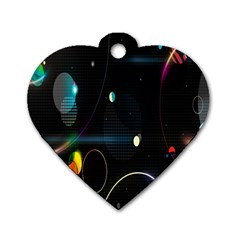 Glare Light Luster Circles Shapes Dog Tag Heart (two Sides) by Simbadda