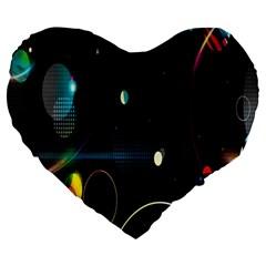 Glare Light Luster Circles Shapes Large 19  Premium Heart Shape Cushions by Simbadda