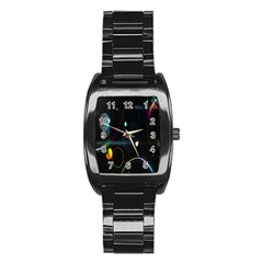Glare Light Luster Circles Shapes Stainless Steel Barrel Watch by Simbadda