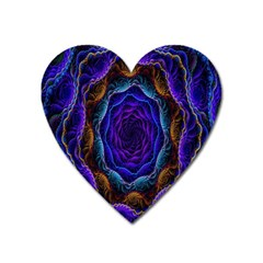 Flowers Dive Neon Light Patterns Heart Magnet by Simbadda