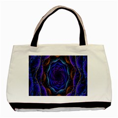 Flowers Dive Neon Light Patterns Basic Tote Bag (two Sides) by Simbadda