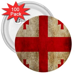Georgia Flag Mud Texture Pattern Symbol Surface 3  Buttons (100 Pack)  by Simbadda
