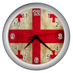 Georgia Flag Mud Texture Pattern Symbol Surface Wall Clocks (silver)  by Simbadda