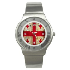 Georgia Flag Mud Texture Pattern Symbol Surface Stainless Steel Watch by Simbadda