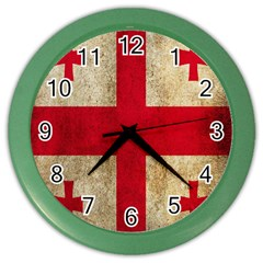 Georgia Flag Mud Texture Pattern Symbol Surface Color Wall Clocks by Simbadda