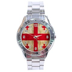Georgia Flag Mud Texture Pattern Symbol Surface Stainless Steel Analogue Watch by Simbadda