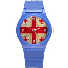 Georgia Flag Mud Texture Pattern Symbol Surface Round Plastic Sport Watch (s) by Simbadda