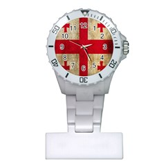 Georgia Flag Mud Texture Pattern Symbol Surface Plastic Nurses Watch by Simbadda