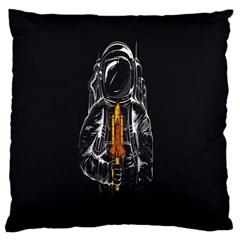 Humor Rocket Ice Cream Funny Astronauts Minimalistic Black Background Large Cushion Case (one Side) by Simbadda