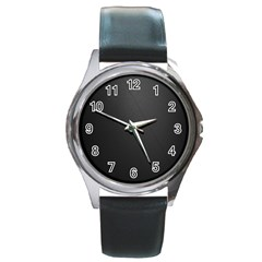 Leather Stitching Thread Perforation Perforated Leather Texture Round Metal Watch by Simbadda