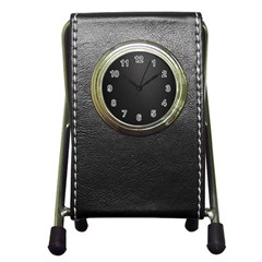 Leather Stitching Thread Perforation Perforated Leather Texture Pen Holder Desk Clocks by Simbadda
