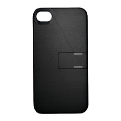 Leather Stitching Thread Perforation Perforated Leather Texture Apple Iphone 4/4s Hardshell Case With Stand by Simbadda