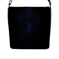 Hexagonal White Dark Mesh Flap Messenger Bag (l)  by Simbadda