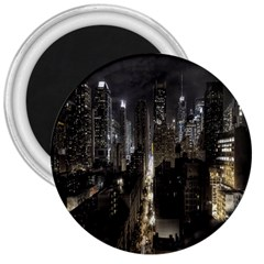 New York United States Of America Night Top View 3  Magnets by Simbadda